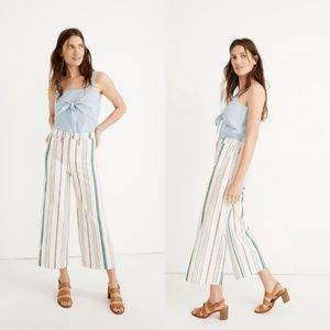 madewell 27 Emmett Wide-Leg Crop Pants Pink Stripe
